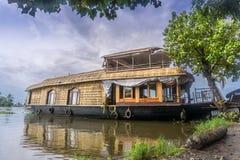 我们的居住船在Appelley喀拉拉,印度 免版税库存照片