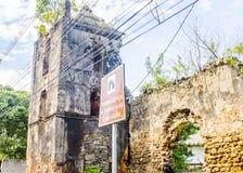 我们的构想, Guarapari, EspÃrito Santo,巴西状态的夫人教会的废墟  库存照片