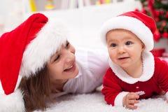 我们的第一圣诞节 免版税库存照片