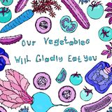 我们的菜将高兴地吃您字法 疯狂的敲打黄瓜蕃茄甜椒Caroot 掠食性菜 免版税库存图片