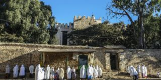 我们的锡安的夫人玛丽大教堂在Aksum,埃塞俄比亚 库存图片