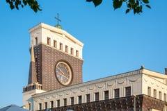 我们的Jiriho z Podebrad广场的, Vinohrady,布拉格阁下的多数耶稣圣心的天主教堂,捷克语 免版税库存图片