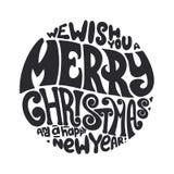 我们祝愿您圣诞快乐和新年快乐印刷术 免版税库存图片