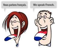 我们讲法语。 库存图片
