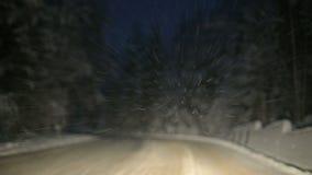 我们通过沿雪道的一个冬天森林驾驶在晚上 在飞行在挡风玻璃的雪剥落的焦点 影视素材
