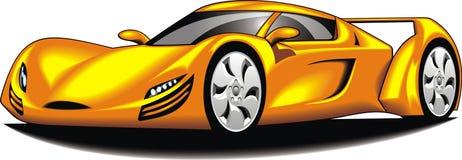 我原始的跑车(我的设计)在黄色颜色 库存图片