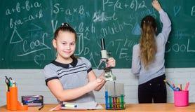 我可以治疗您 女孩在学校实验室 正式学校教育 生物学校教训 科学实验 库存图片