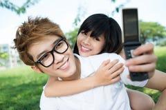 我和我的男朋友 库存照片