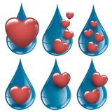 我喜欢新和纯净的水的汇集水爱 免版税库存照片