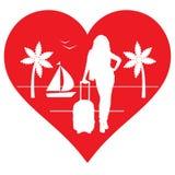 我喜欢旅行的心脏和女孩游人 库存照片
