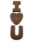 我喜爱拼写您的巧克力 库存照片