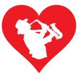 我喜爱播放saxaphone的心脏和萨克斯管吹奏者 库存图片
