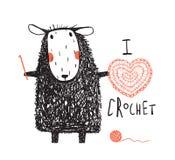 我喜爱钩编编织物绵羊手拉的设计 免版税库存图片