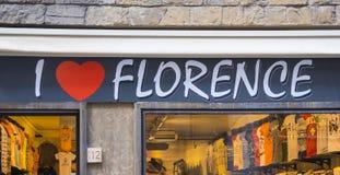 我在市中心爱佛罗伦萨商店-佛罗伦萨/意大利- 2017年9月12日 免版税图库摄影