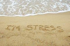 我在沙子写的` m重音 免版税库存照片