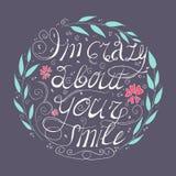 我对您的微笑是疯狂的 圈子与叶子的花集合 免版税库存照片