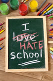 我恨学校,回到在黑板写的学校概念 免版税库存图片