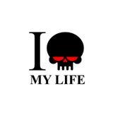 我恨我的生活 有红色眼睛的哀伤的黑头骨 T恤杉的商标 免版税库存图片