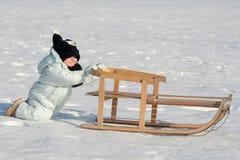 我推进的雪撬 库存图片