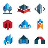 我新的年龄一代-历史的真正楼房建筑建筑学公司标签和建立21世纪聪明的房子 图库摄影