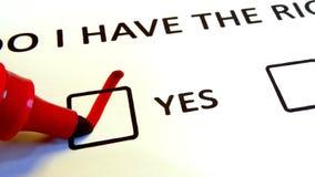 我是否有权利?在纸的打印的文本 库存例证