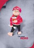 我是您的英雄-有匙子的一个人 库存照片