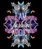 我是时尚上瘾者口号 动物和热带植物时髦镜子印刷品 免版税图库摄影