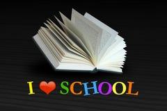 我爱与开放书的学校概念 免版税库存图片