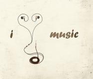 我爱与文本的音乐 免版税库存照片