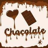 我爱与熔化的作用的巧克力模板 库存图片