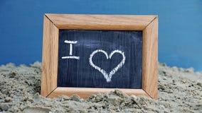 我爱书面的海滩 图库摄影