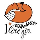 我爱你。与狐狸的卡片 免版税库存照片