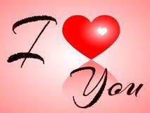 我爱你与心脏和桃红色背景的题字 库存图片