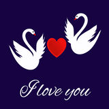 我爱你与心脏和白色天鹅的贺卡 免版税图库摄影
