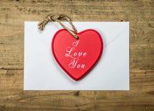 我爱你与文本的心脏 免版税库存照片