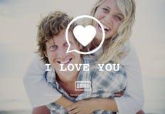 我爱你华伦泰拉丁文的爱心脏约会概念 库存照片