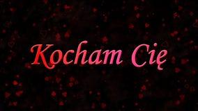 我爱你发短信在黑暗的背景的波兰Kocham Cie 库存图片