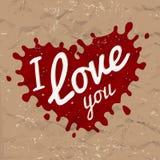 我爱你在上写字在飞溅传染媒介设计 减速火箭的心脏形状标志商标概念 在褐色的明亮的红色墨水被弄皱的 图库摄影