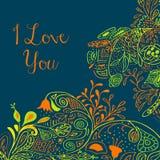 我爱你在小野鸭背景的文本与花卉 免版税库存图片