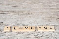 我爱你在木板条的信件 库存图片