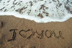 我爱你在海滩沙子  免版税库存图片
