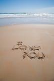 我爱你在海滩的文本 图库摄影