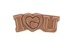 我爱你在白色背景隔绝的巧克力 免版税图库摄影