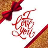 我爱你在闪烁背景的手写的刷子笔字法与红色弓,情人节 免版税库存图片