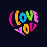 我爱你心脏形状商标 免版税库存图片