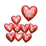 我爱你心脏形状箔气球 免版税库存照片