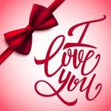 我爱你手写的刷子笔字法和红色弓,情人节,传染媒介 免版税库存图片