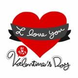 我爱你是矿华伦泰与红色心脏例证的` s天 免版税库存图片