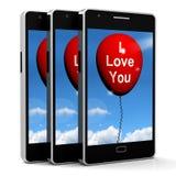 我爱你气球代表恋人和夫妇 免版税库存图片
