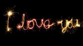 `我爱你闪烁发光物做的`标志 库存图片